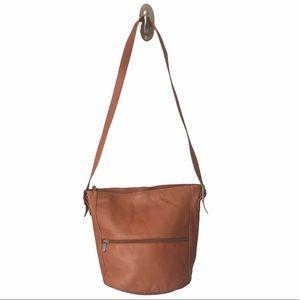 PIEL Genuine Leather Bucket Purse Camel Color